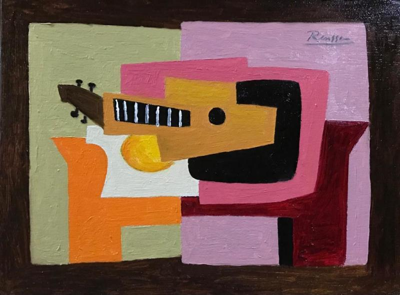 Erik Renssen, Guitar and bowl on a table, 2020