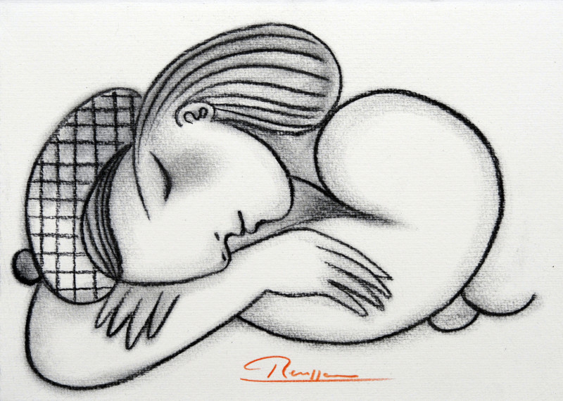 Erik Renssen, Sleeping nude in a baret, 2018