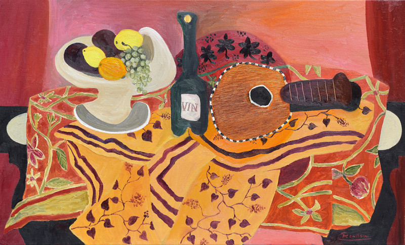 Erik Renssen, Size L | Fruit, bottle and mandolin on a table, 2021