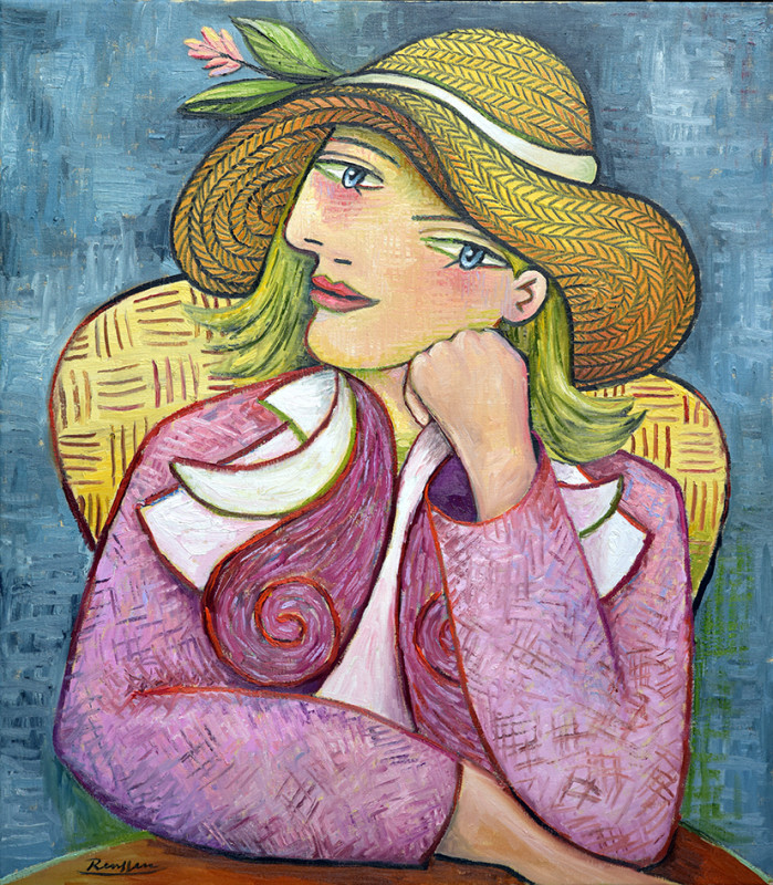 Erik Renssen, Seated woman in a straw hat, 2019