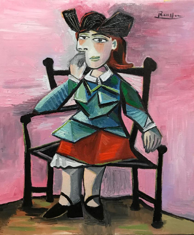 Erik Renssen, Seated woman with a black hat, 2018