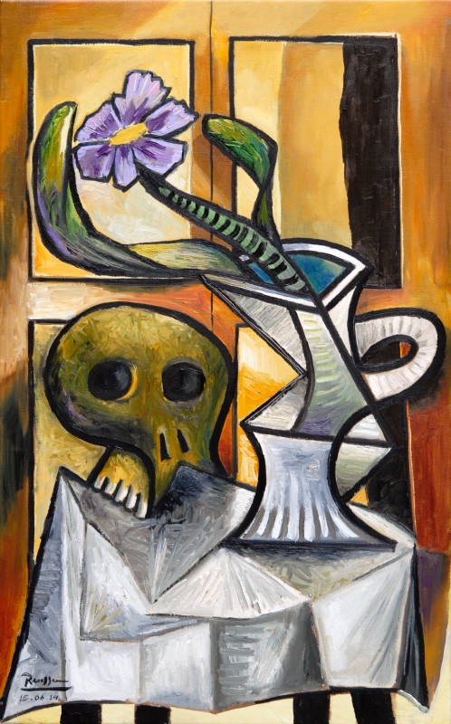 Erik Renssen, Skull and pitcher with flower and leaves I, 2014
