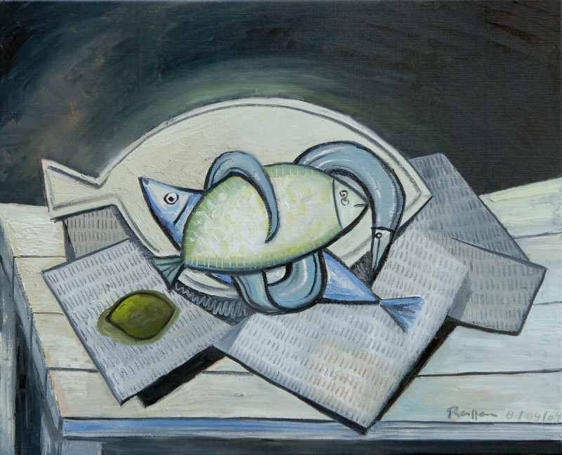 Erik Renssen, M / Fish and a lemon on a table, 2009