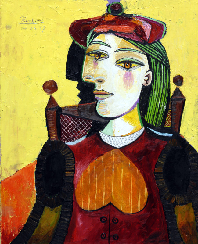 Erik Renssen, Woman in a red beret, 2017