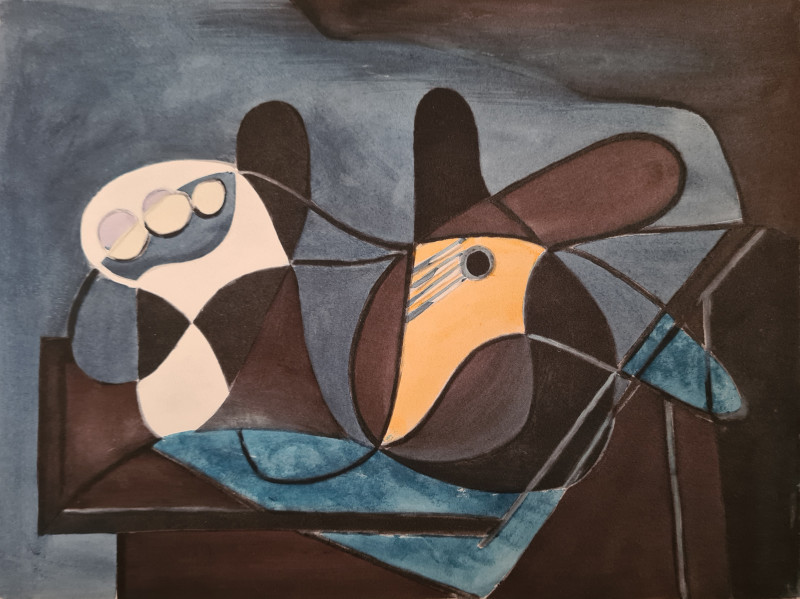 Pablo Picasso, Fruit and guitar in front of grey background, 1946, 1955
