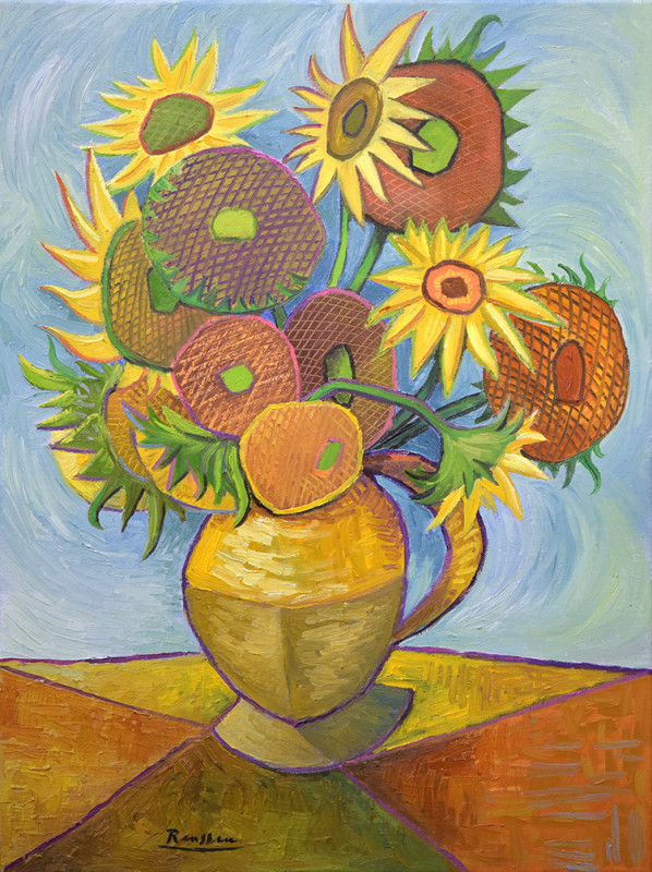 Erik Renssen, Sunflowers in a vase (V), 2020