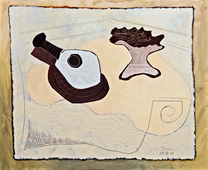 Erik Renssen, L / A mandolin and raisins in a bowl on a table, 2008