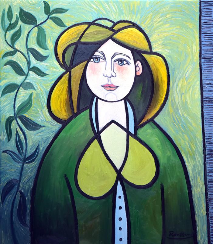 Erik Renssen, Woman in a green dress (II), 2020