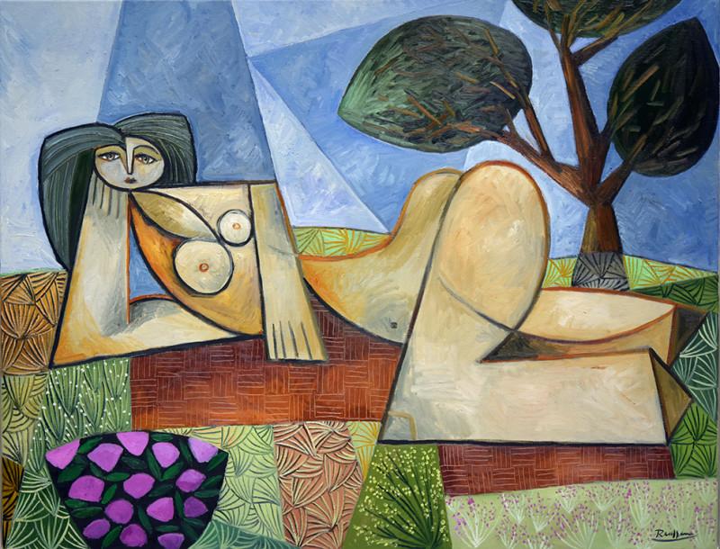 Erik Renssen, Nude in a garden, 2019