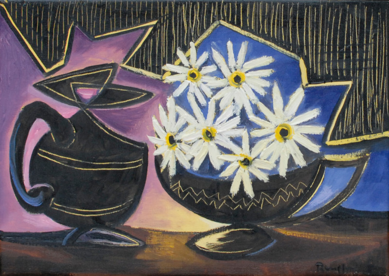 Erik Renssen, White flowers in a black pot, 2010