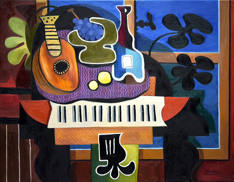 Erik Renssen, Mandolin, grapes and bottle on a grand piano, 2020