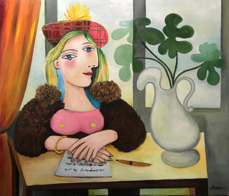 Erik Renssen, Woman in a baret writing a letter, 2019