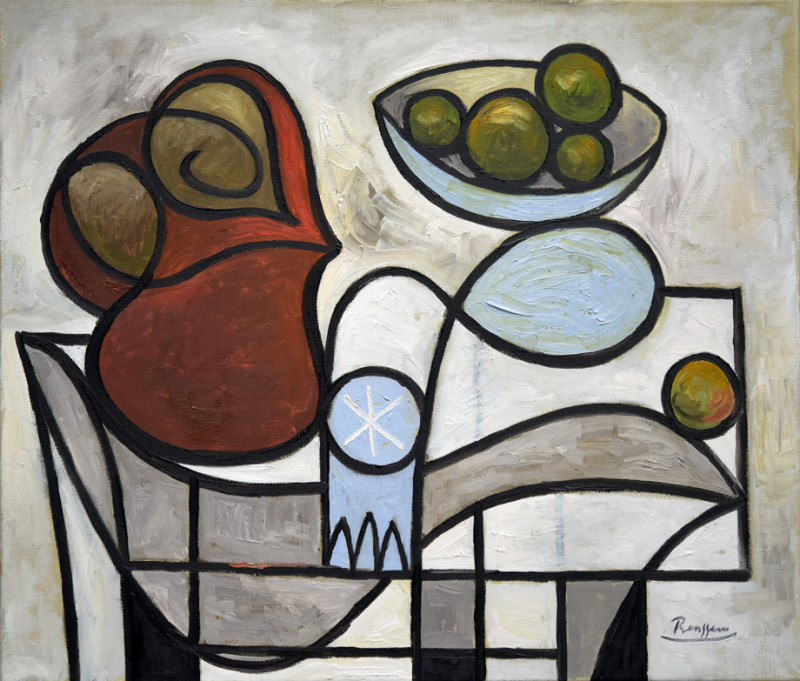Erik Renssen, Still life with pitcher, glass and apples, 2019