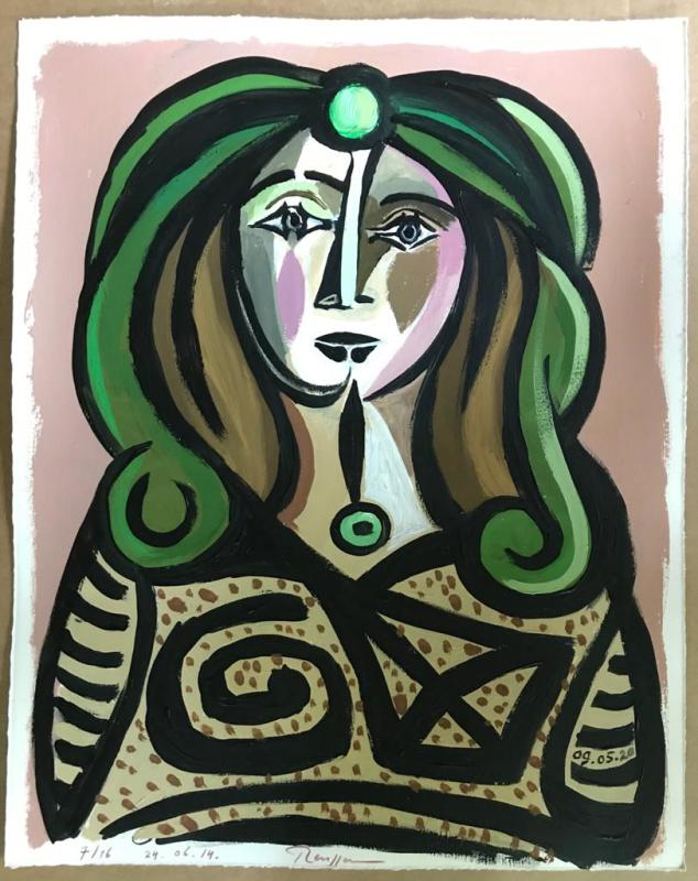 Erik Renssen, Woman with green hair (III), 2020