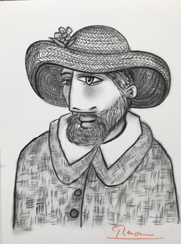 Erik Renssen, Bearded man with straw hat, 2019
