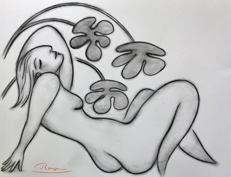 Erik Renssen, Nude leaning back, 2019