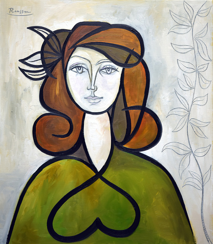 Erik Renssen, Woman with leaves in her hair, 2020