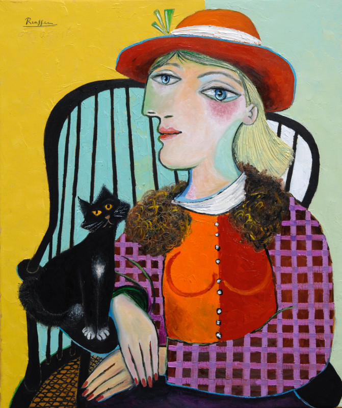 Erik Renssen, Seated woman with cat, 2016