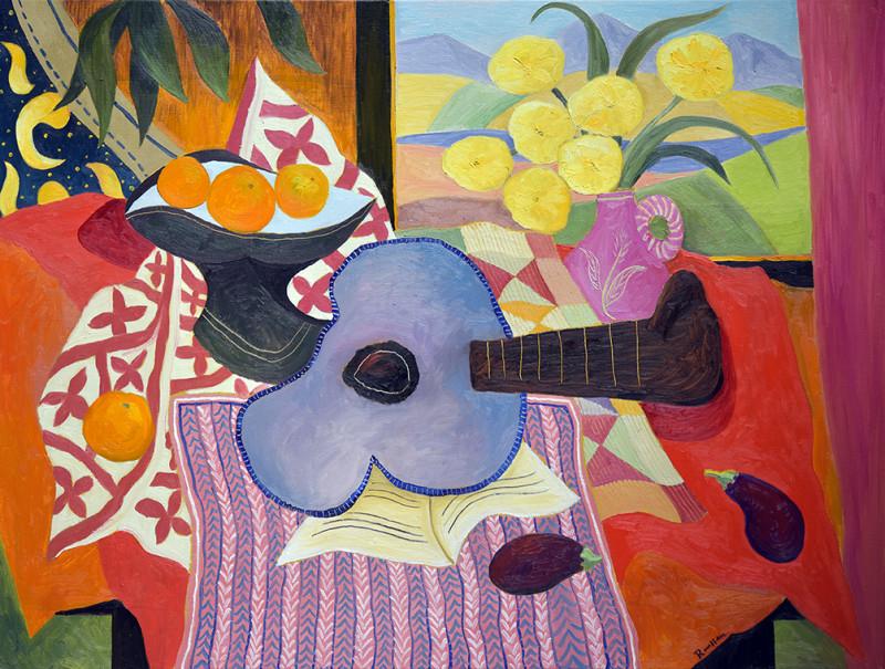 Erik Renssen, Size L | Guitar, fruitbowl and flowers in a vase, 2021