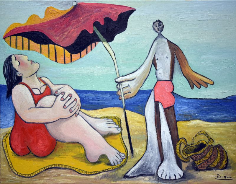 Erik Renssen, Man and woman on a beach II, 2018