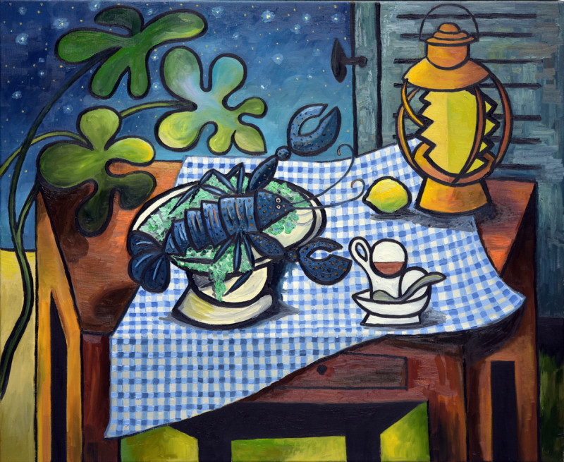 Erik Renssen, Lobster and oil lamp on a table, 2019