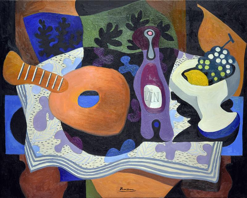 Erik Renssen, Size L | Mandolin, bottle and fruitbowl, 2021