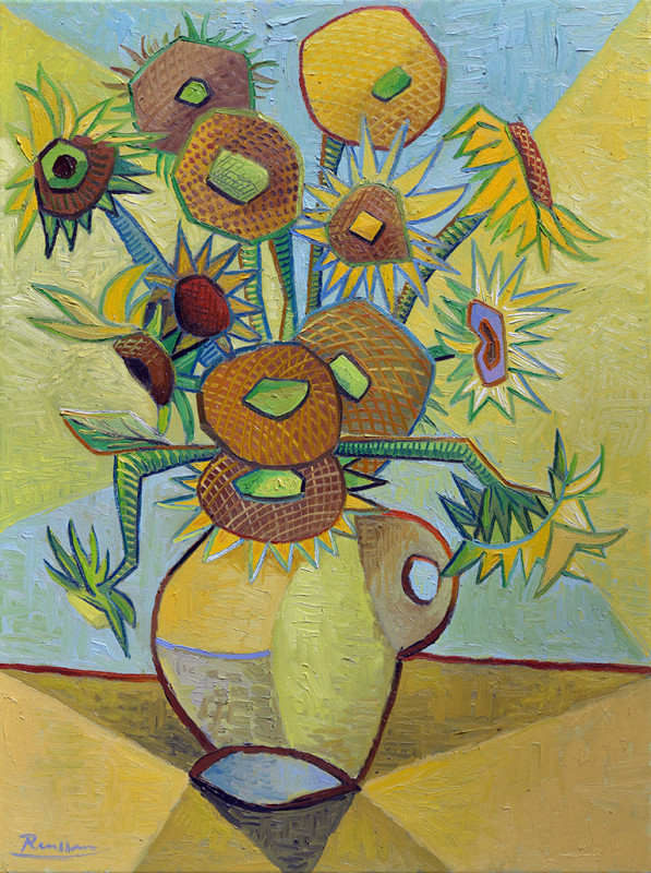 Erik Renssen, Sunflowers in a vase (II), 2020