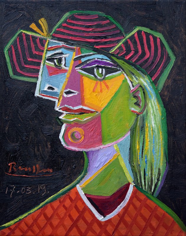 Erik Renssen, Woman in a striped hat, 2019