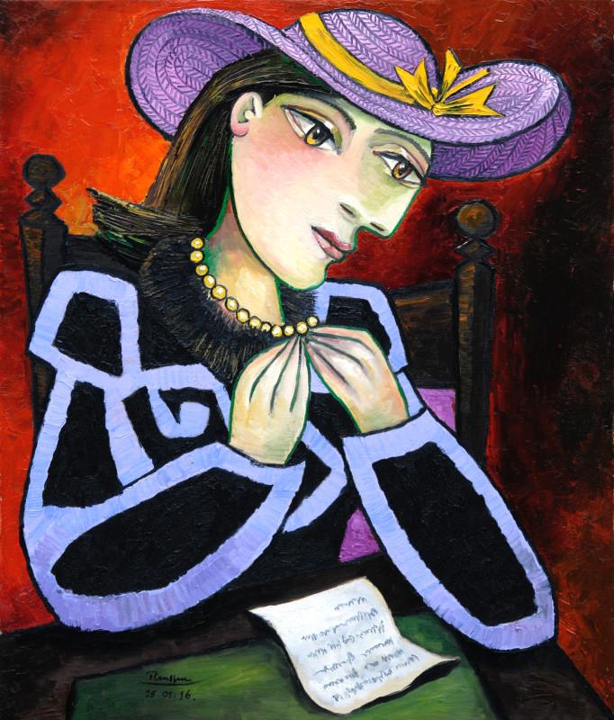 Erik Renssen, L / Seated woman reading a letter, 2016