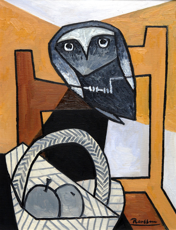 Erik Renssen, Owl on a chair, 2017