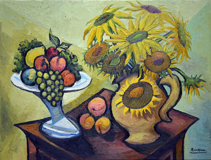 Erik Renssen, Sunflowers and fruitbowl, 2021