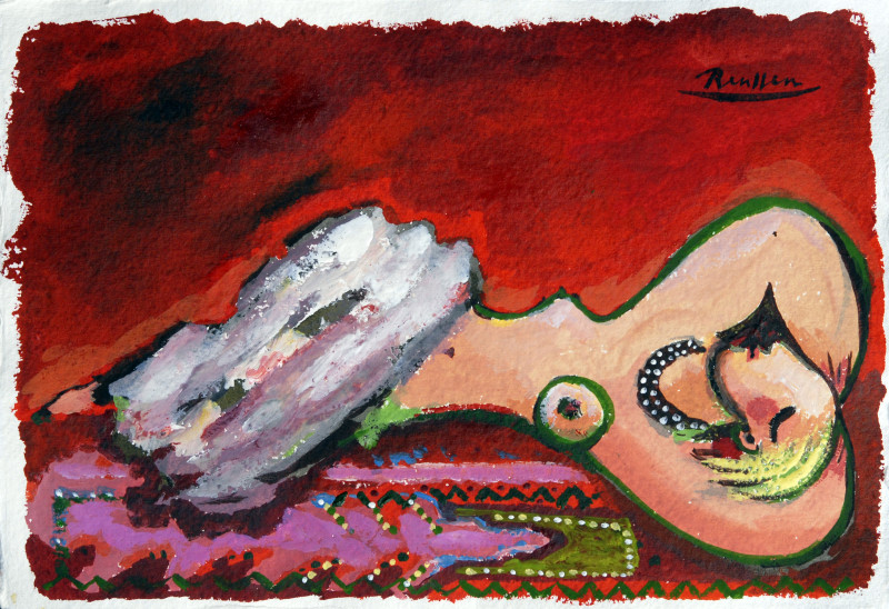 Erik Renssen, Reclining nude on a Turkish carpet, 2018