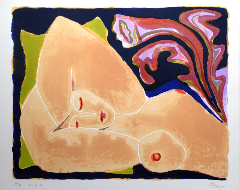 Erik Renssen, Reclining nude with flower I, 2015