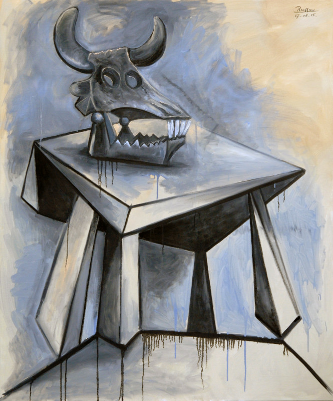 Erik Renssen, Skull of a bull on a table, 2015