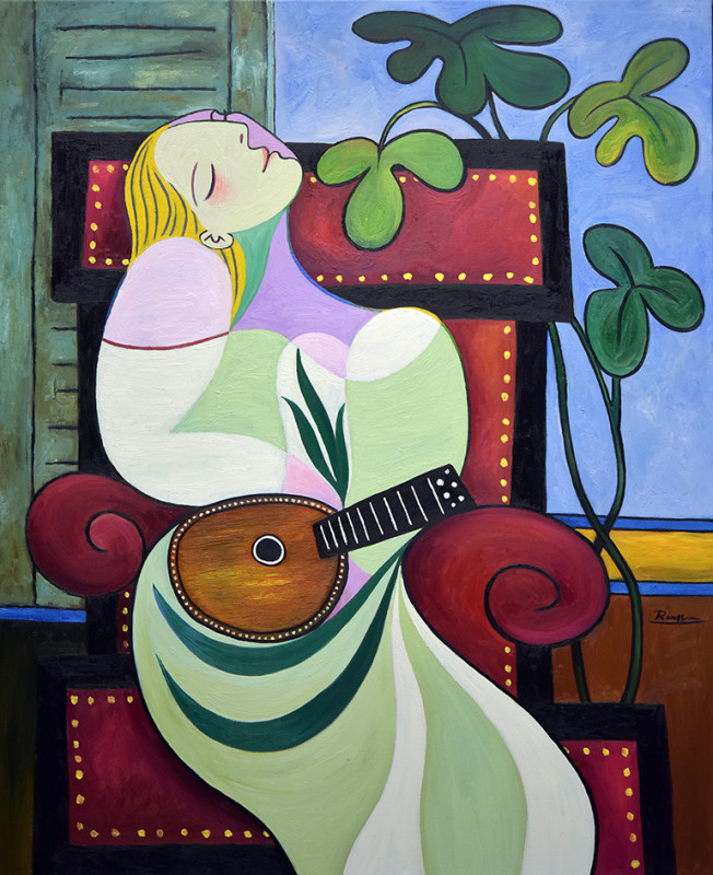 Erik Renssen, Dreaming woman with mandolin, 2019