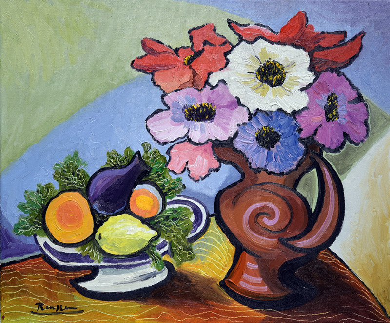 Erik Renssen, M / Flowers and fruit on a table, 2020