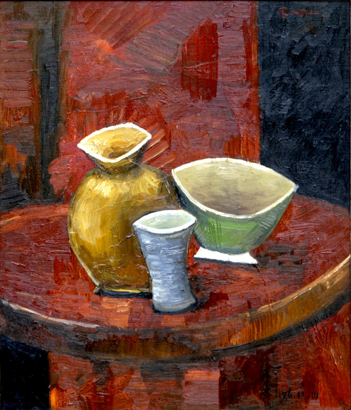 Erik Renssen, Bottle and bowl on a table, 2010