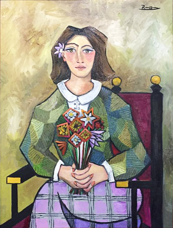 Erik Renssen, Woman with flowers, 2017
