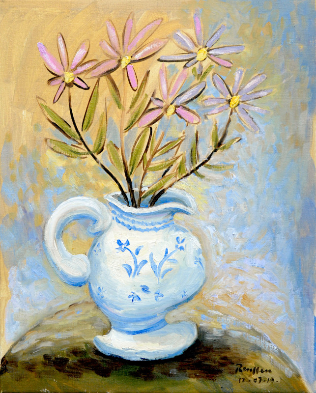 Erik Renssen, Blue pitcher with flowers, 2014