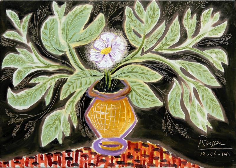 Erik Renssen, M / Flowers and leaves in a vase, 2014