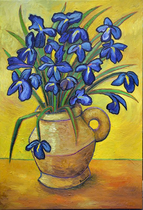 Erik Renssen, M/L / Blue Irises in a vase, 2020