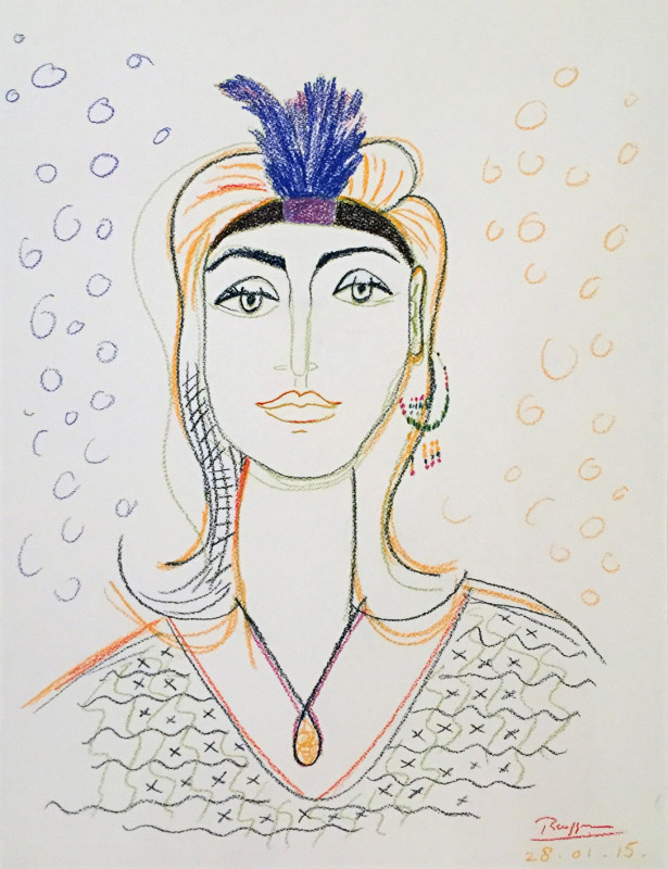 Erik Renssen, Woman with a feather headband, 2016