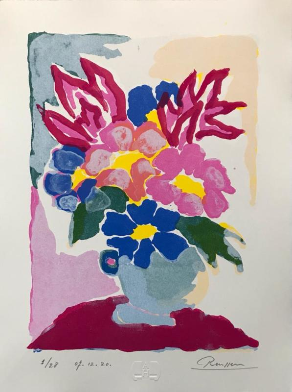 Erik Renssen, Flowers in a light blue pot, 2020