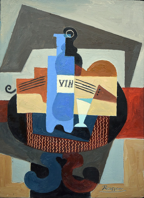 Erik Renssen, S / Bottle, glass and instruments on a table, 2021