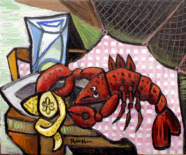 Erik Renssen, Lobster and lemon on a table, 2012