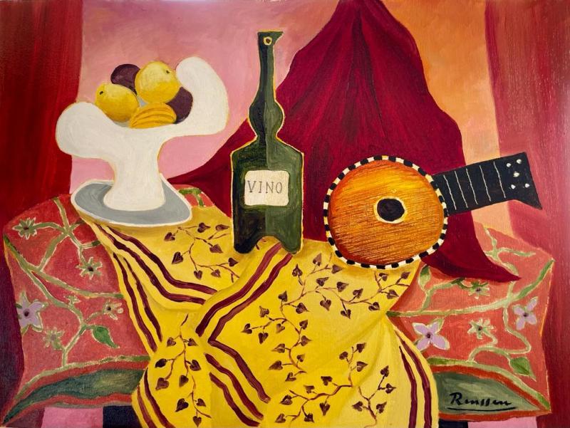 Erik Renssen, Size XS | Mandolin, fruitbowl and bottle on table, 2021