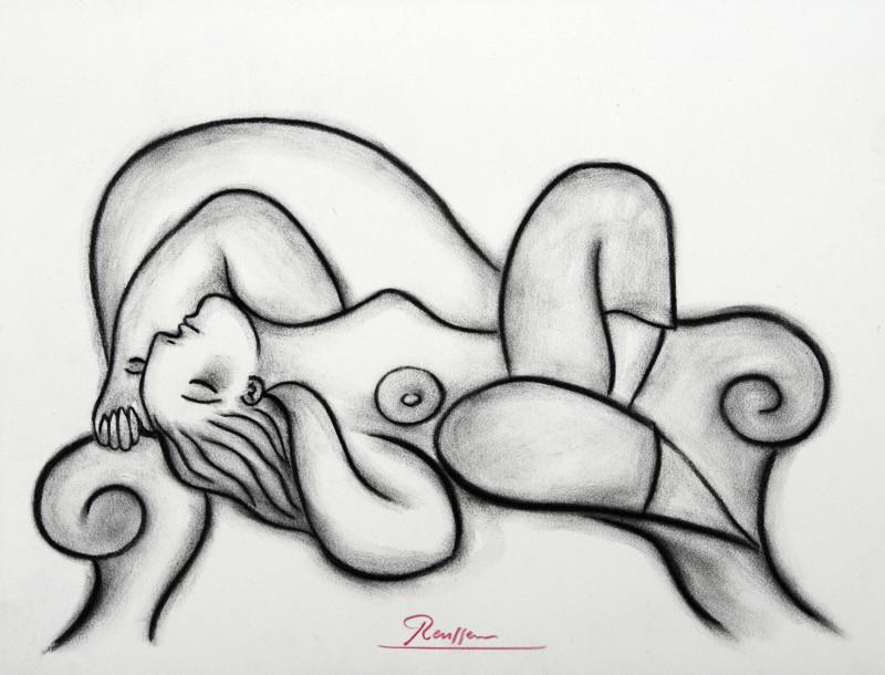 Erik Renssen, Nude on a sofa, 2018