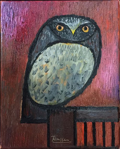 Erik Renssen, Little owl on a chair, 2018
