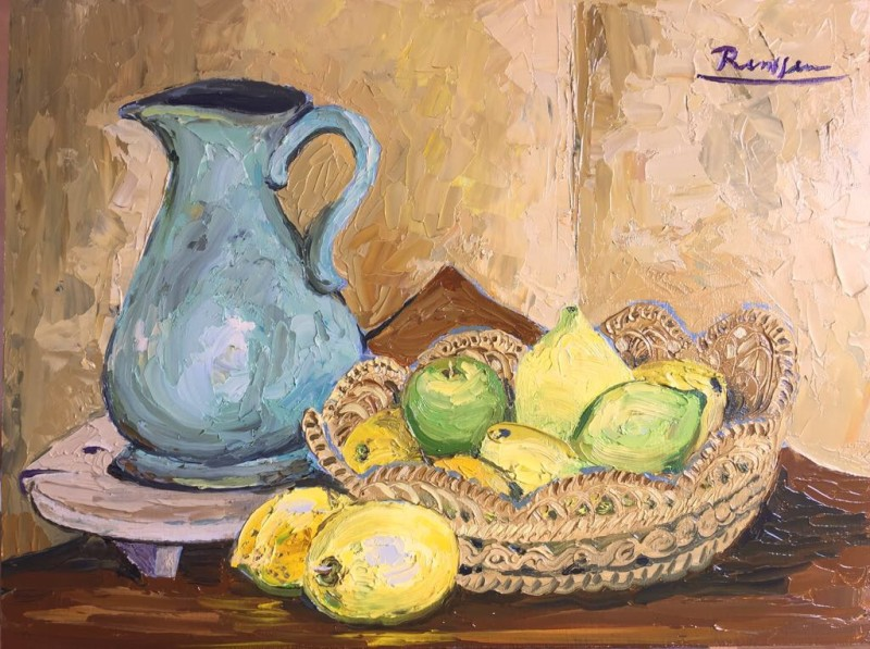 Erik Renssen, Still life with lemons and pitcher, 2017