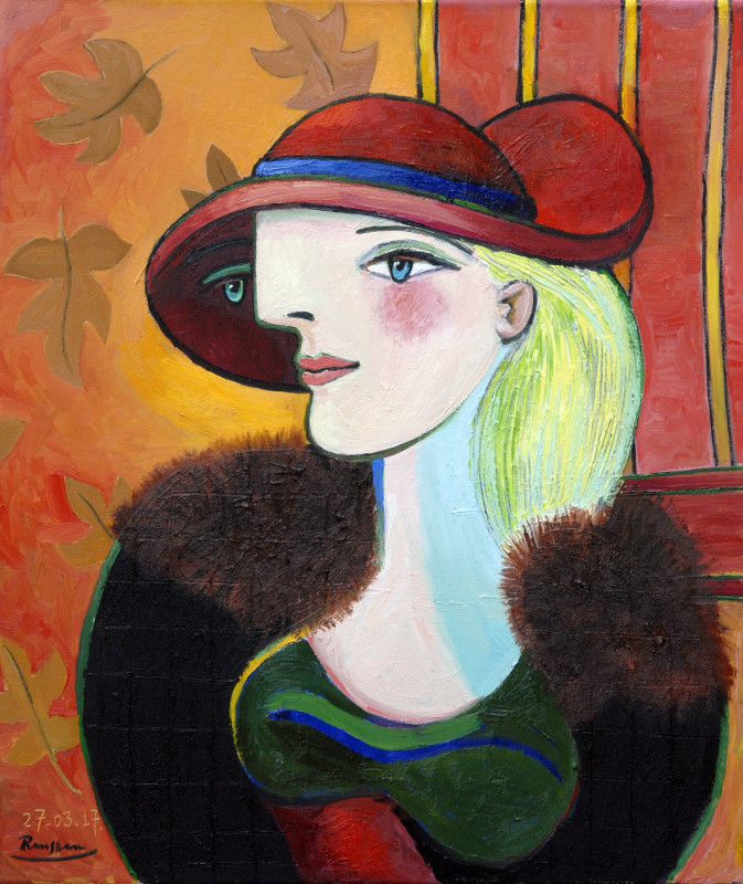 Erik Renssen, Woman in a red hat, 2017